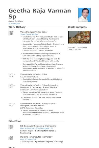 video producer/video editor Resume Example | WORK | Pinterest ...