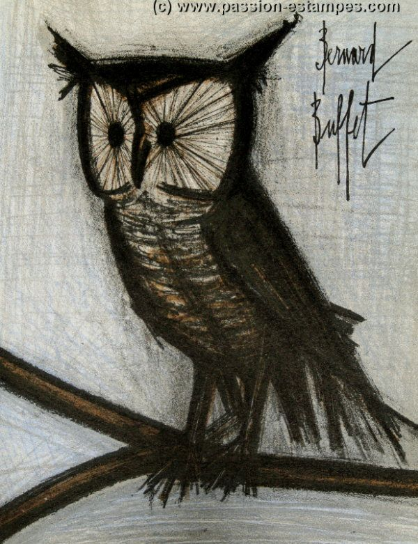 Magnificent Bernard Buffet Original Lithograph Little Owl 1967 B Home Interior And Landscaping Palasignezvosmurscom