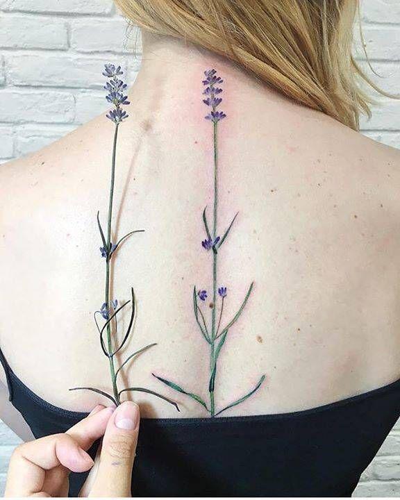 Lavender Tattoo On The Upper Back Using A Real Flower As A Stencil Tattoo Lavender Tattoo Hawaiian Tattoo Tribal Shoulder Tattoos