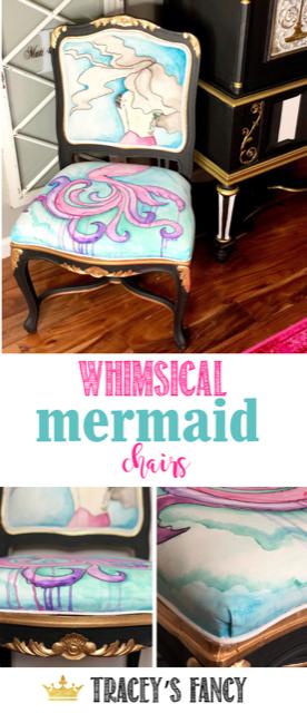 Whimsical Watercolor Mermaid Chair - An Ugly Fabric Chair