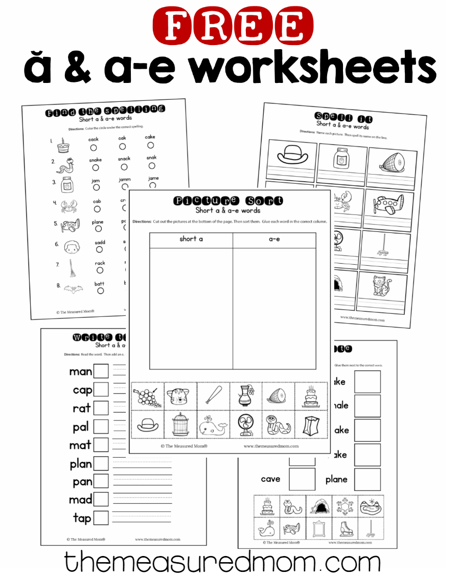 Short a \u0026 a-e worksheets - The Measured Mom   Vowel worksheets [ 1125 x 900 Pixel ]
