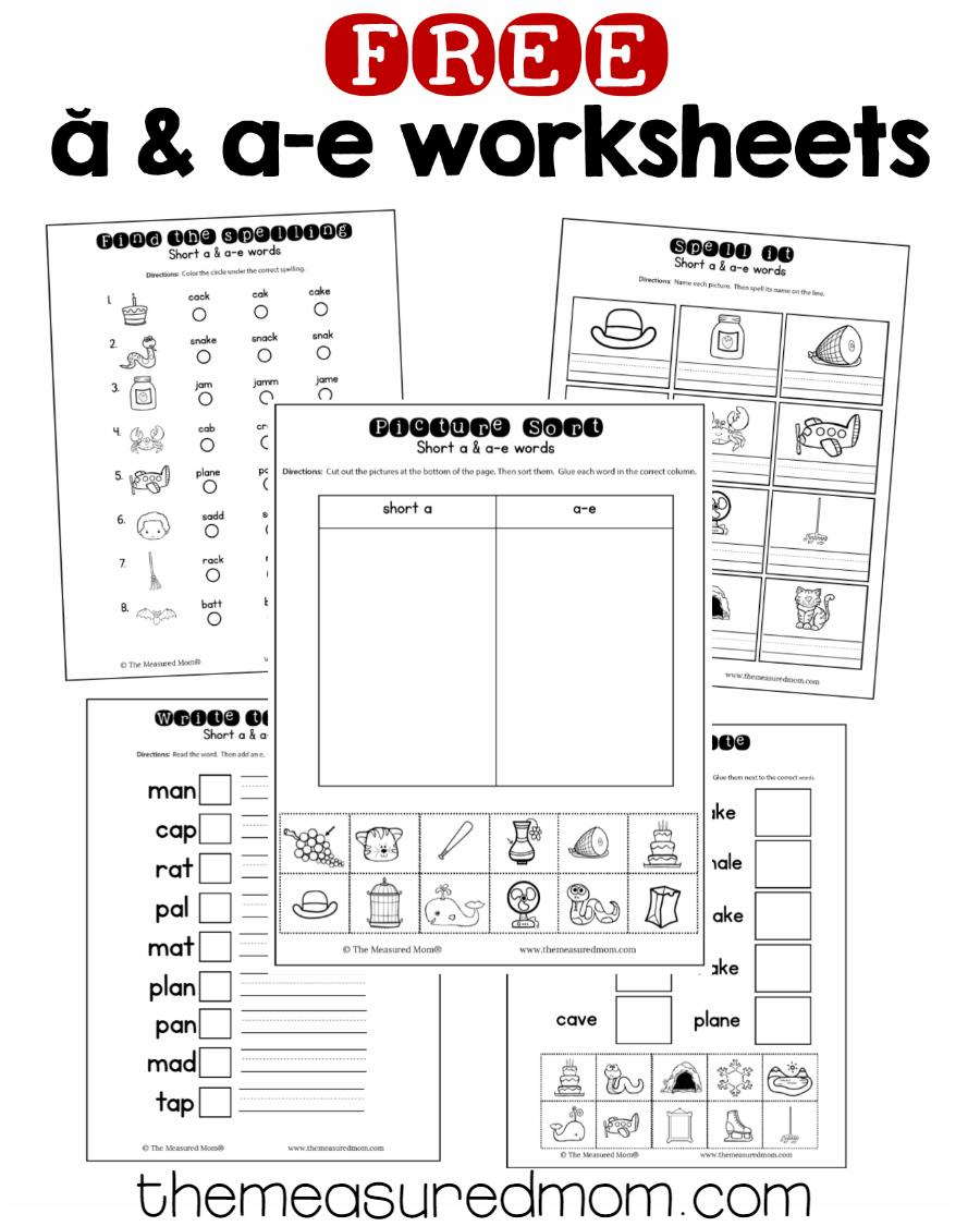 hight resolution of Short a \u0026 a-e worksheets - The Measured Mom   Vowel worksheets
