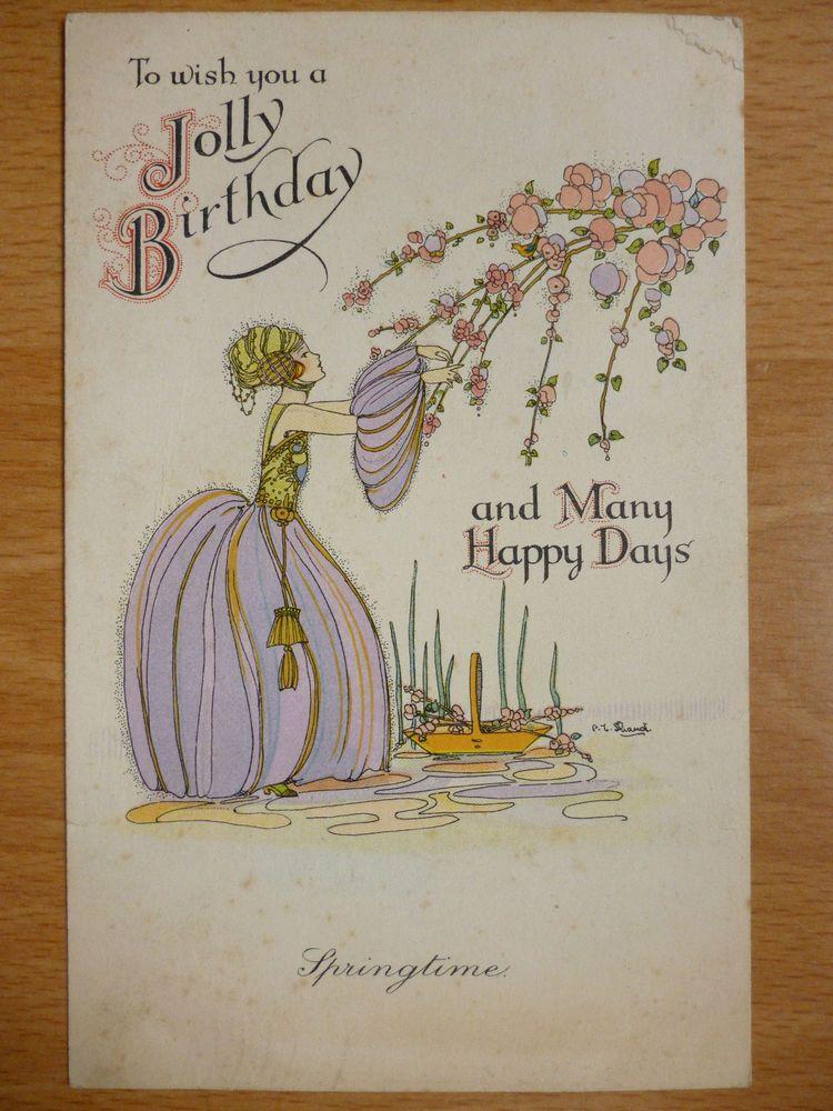 Art Deco Postcard By C E Shand Jolly Birthday Happy Days Greetings