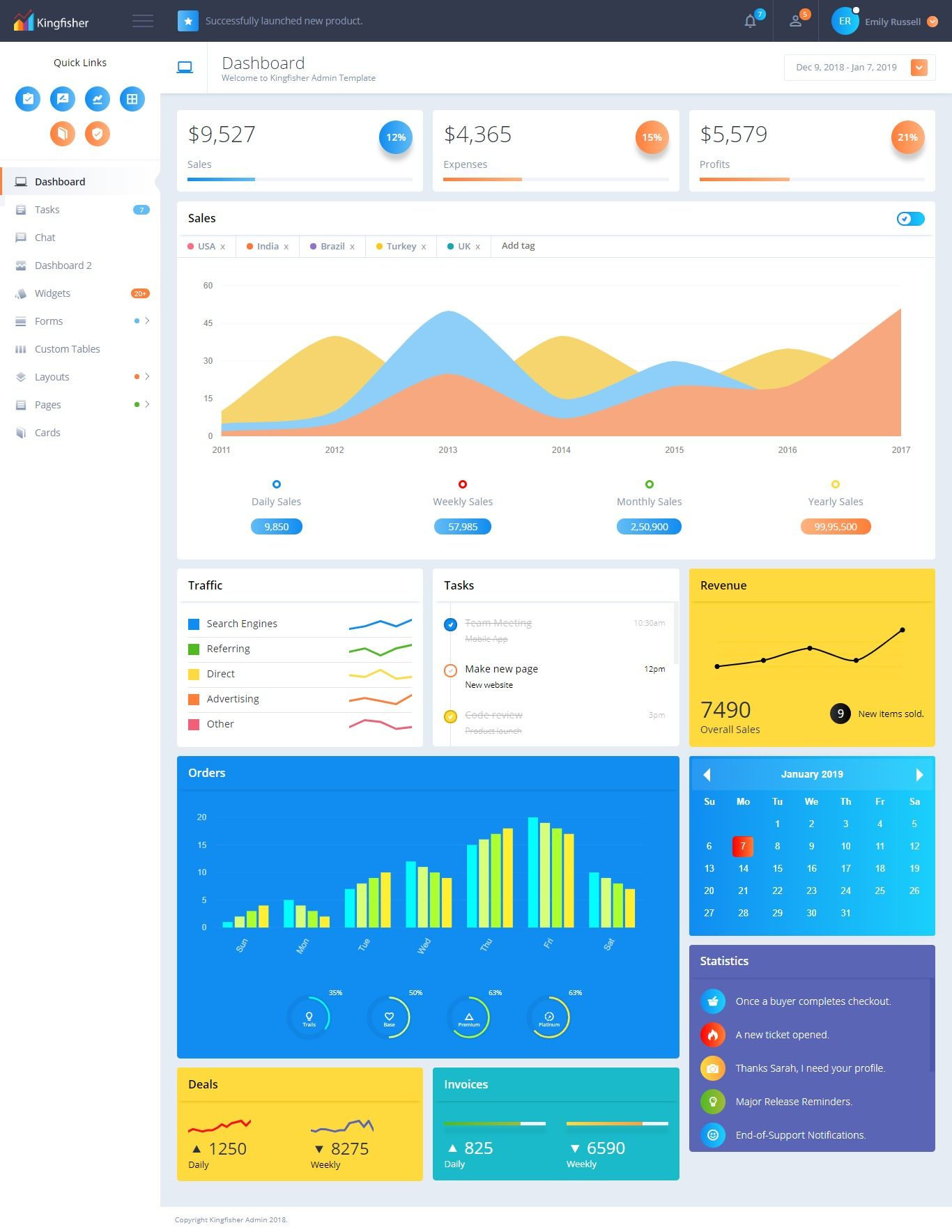 Kingfisher Responsive Bootstrap 4 Admin Template