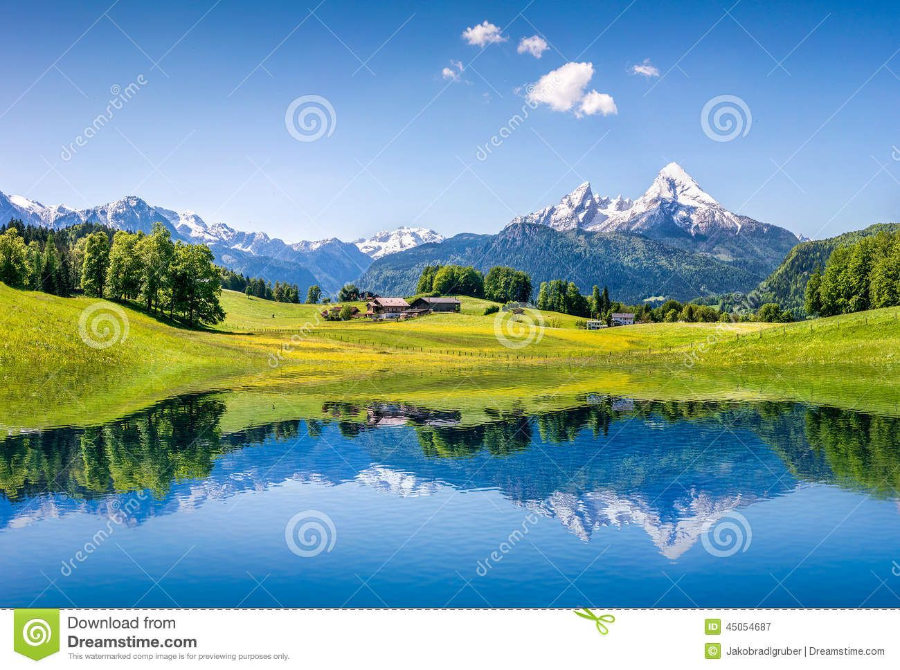 Idyllic Summer Landscape With Clear Mountain Lake In The Alps Download From Over 58 Million High Quality Sto Summer Landscape Mountain Portrait Mountain Lake
