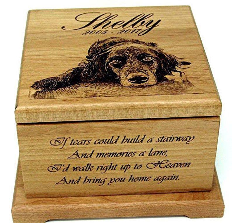 Custom pet urn wood cremation pet urn for pets ashes dog