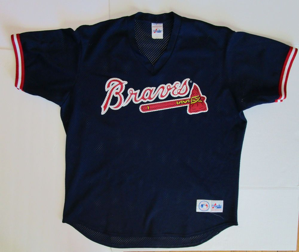 Vtg Xl Atlanta Braves Blue Mesh Genuine Majestic Jersey Mens Made In The Usa Majestic Atlantabraves Atlanta Braves Baseball Atlanta Braves Mens Tops