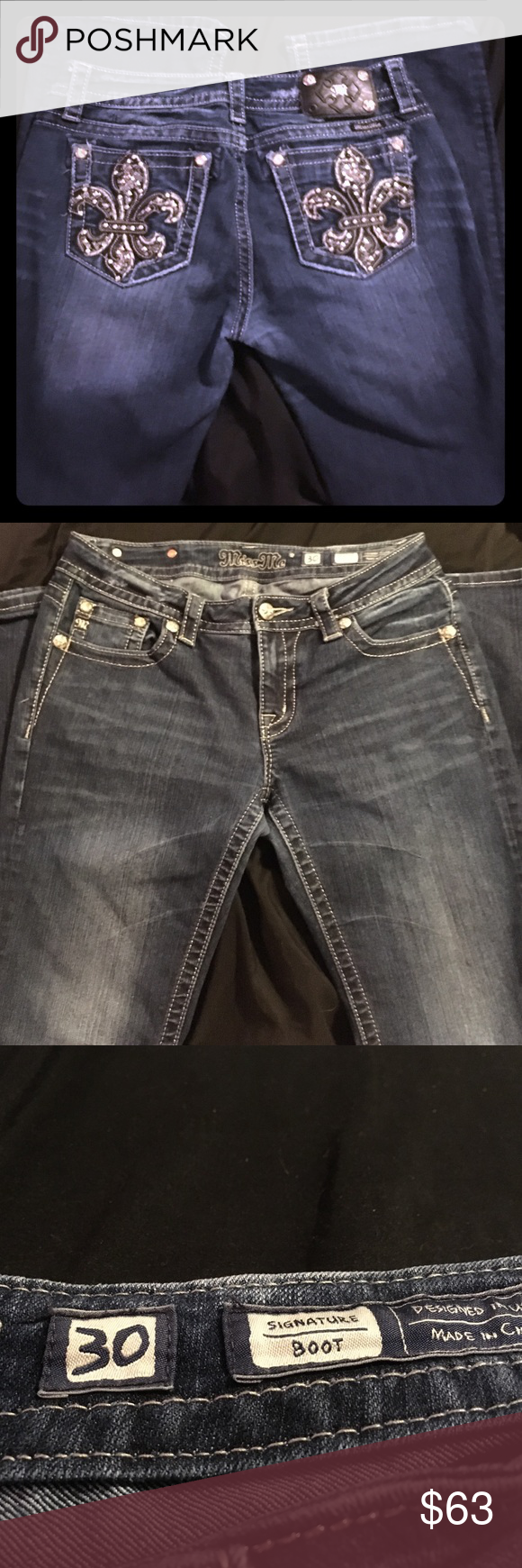 Miss Me signature blue jeans size 30 like worn 3x Gently worn miss me jeans signature boot cut size 30. They come from a non-smoking home. Still in great condition! Miss Me Jeans Boot Cut