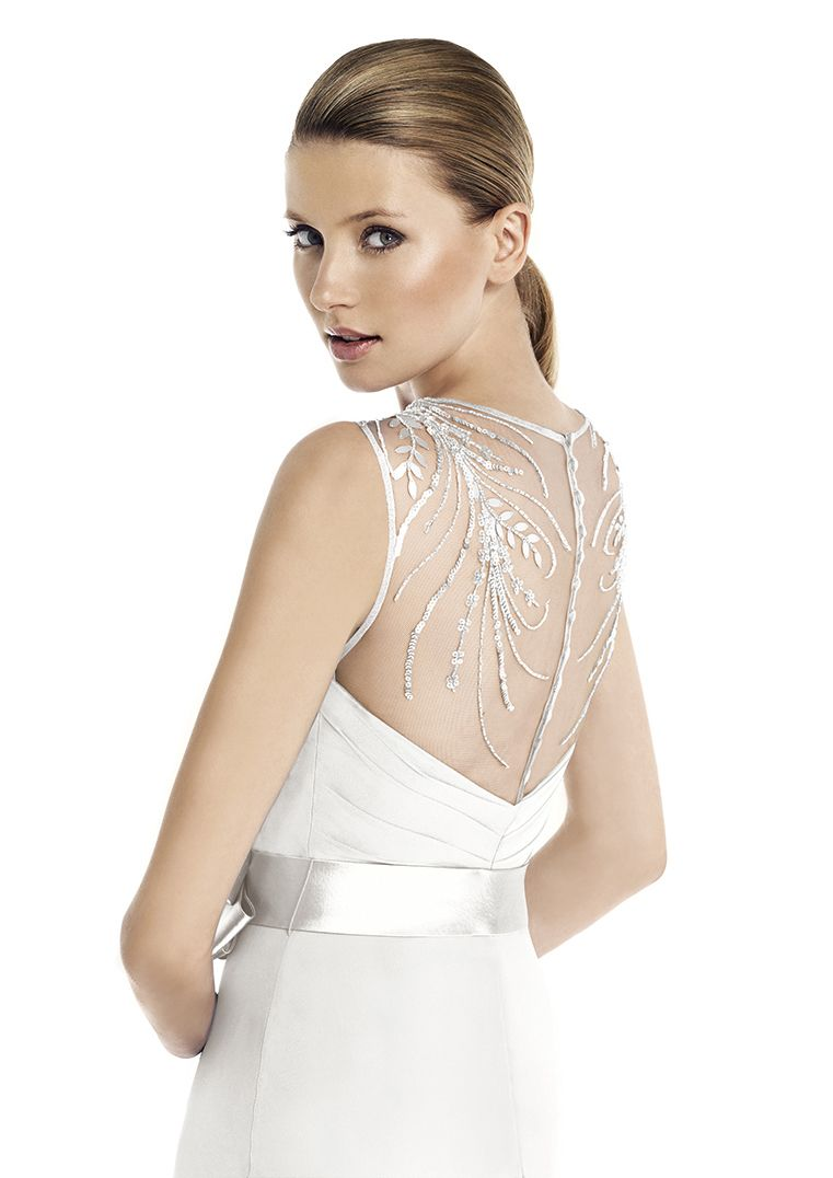 Simple and cheap wedding dresses  Simple chiffon gown with gorgeous low back and satin belt For more