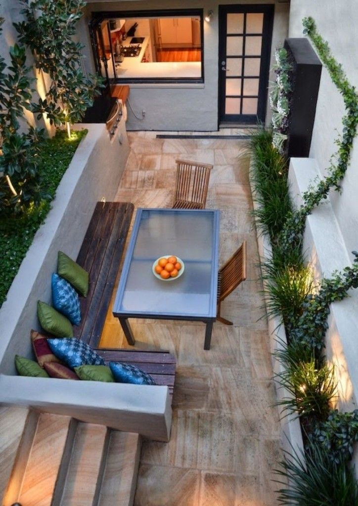 Incredibly gorgeous long narrow indoor courtyard patio for Long narrow balcony decorating