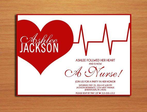 ekg heart nursing medical degree graduation party invitation cards printable diy on etsy 1500