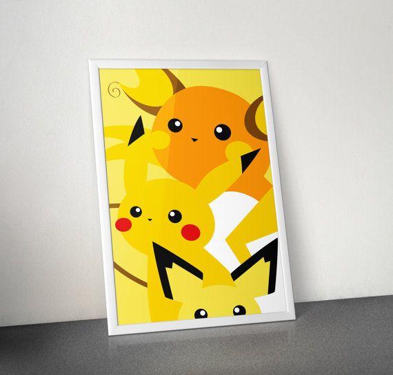 Famille de pikachu affiche raichu pikachu pichu par audreymade pokemon image de pokemon - Pokemon famille pikachu ...