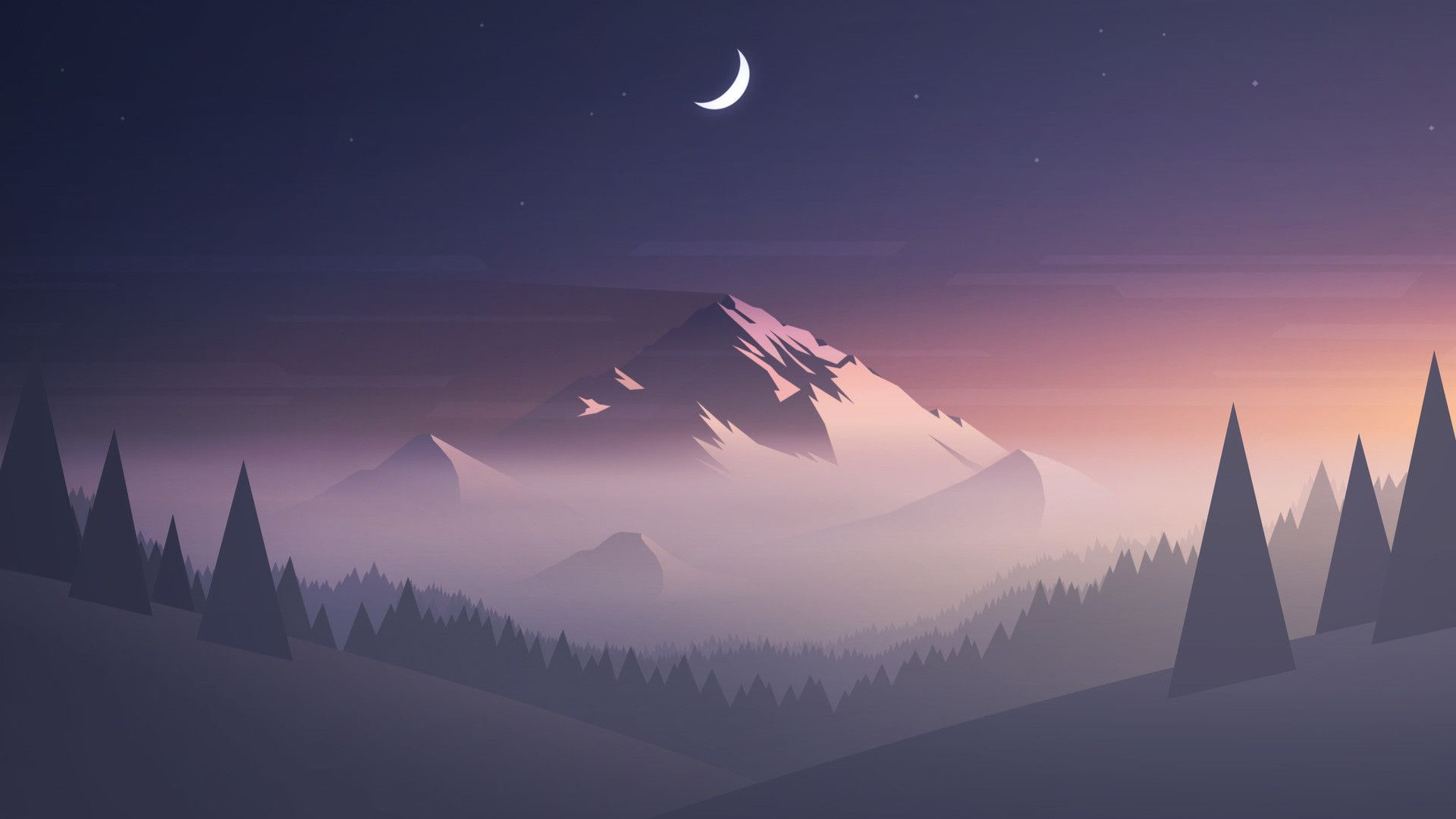 Res 1920x1080 Mountains Moon Trees Minimalism Hd Jpg Aesthetic Desktop Wallpaper Minimal Wallpaper Minimalist Desktop Wallpaper