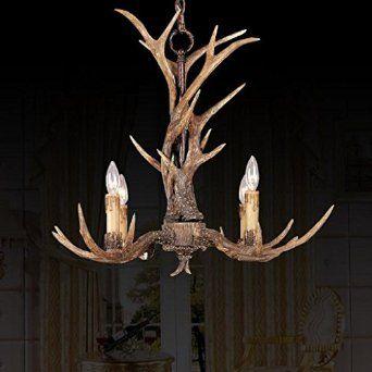 EFFORTINC Vintage Style Resin Antler Chandelier 4 Lights, Living room, Bar, Cafe, Dining room, Bedroom, Study, Villas, American Retro Deer Horn Pendant Lights - - Amazon.com