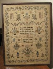 rare antique 1819 hand embroidered Liz Reed bible verse needlepoint sampler 9yrs
