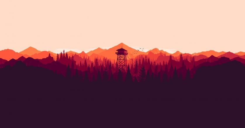 Digital Art Landscape Low Poly Forest Artwork Illustration Tower Colorful Video Games Nature Firewatch Mountains Minimalism Olly Moss