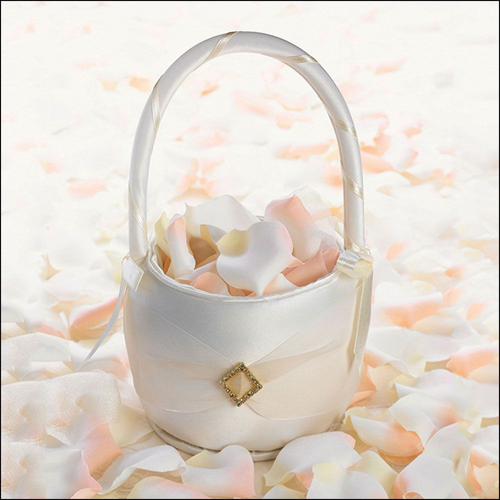Flowergirl Basket In Ivory Satin Finished With An Ivory Chiffon