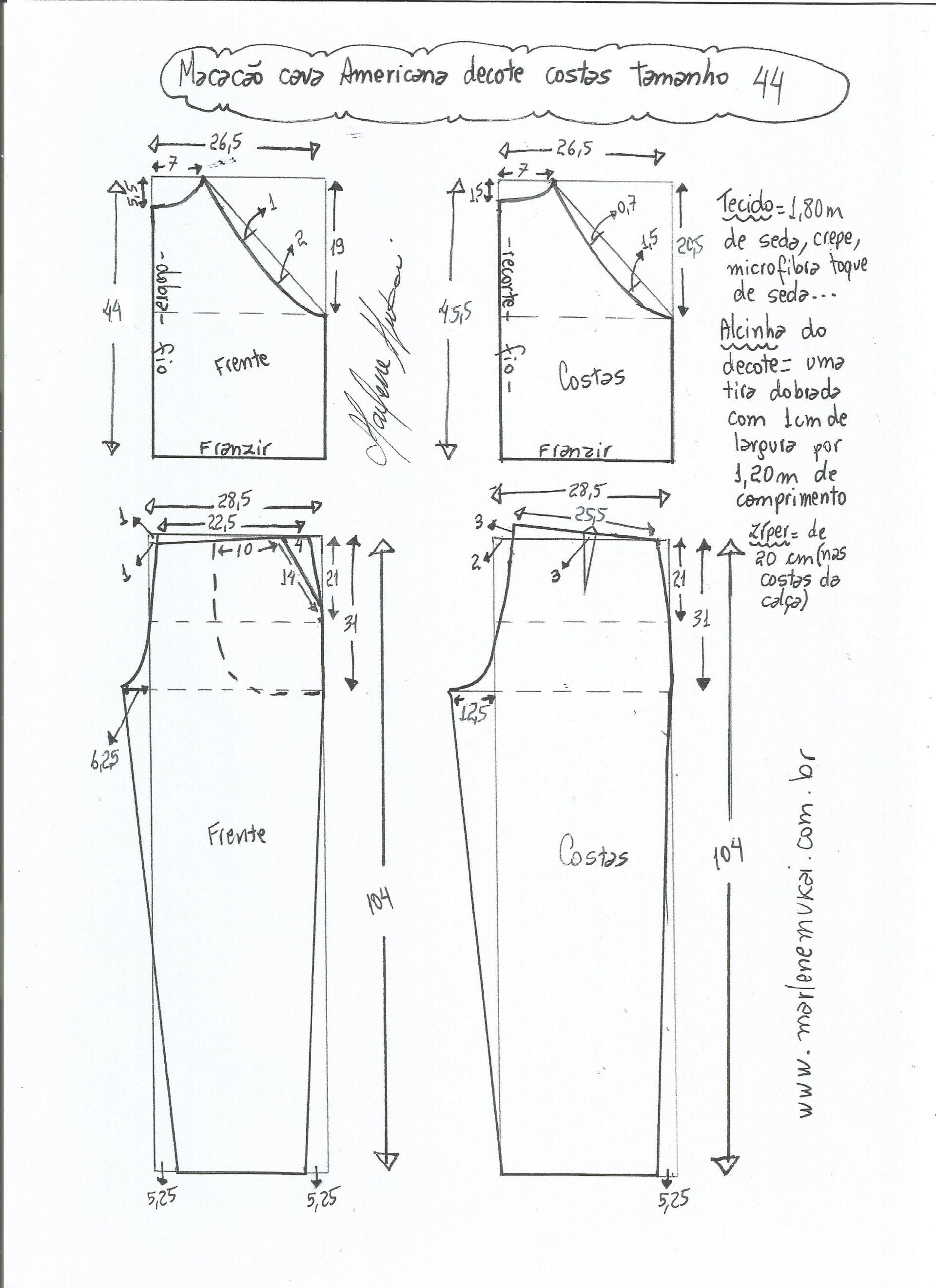 Patrón de mono con sisa americana | telas y tijeras | 服装 y パターン