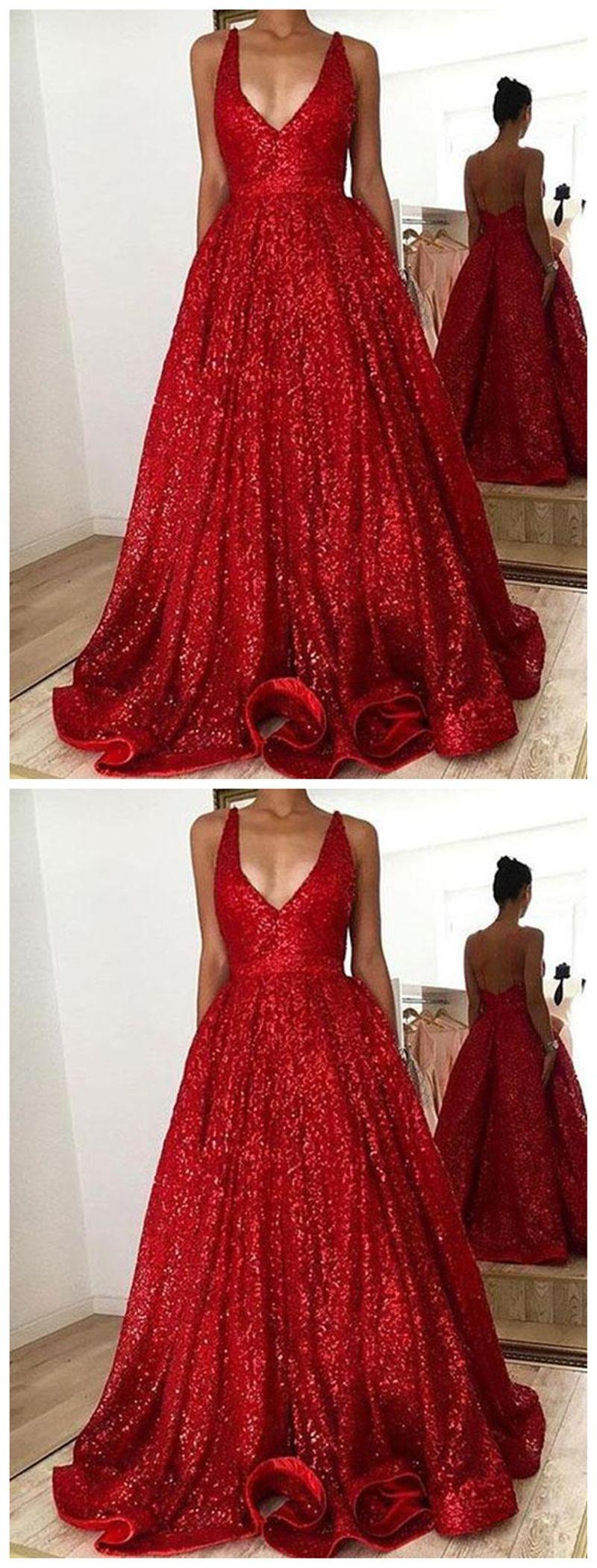 V neck backless sparkly red aline long evening prom dresses