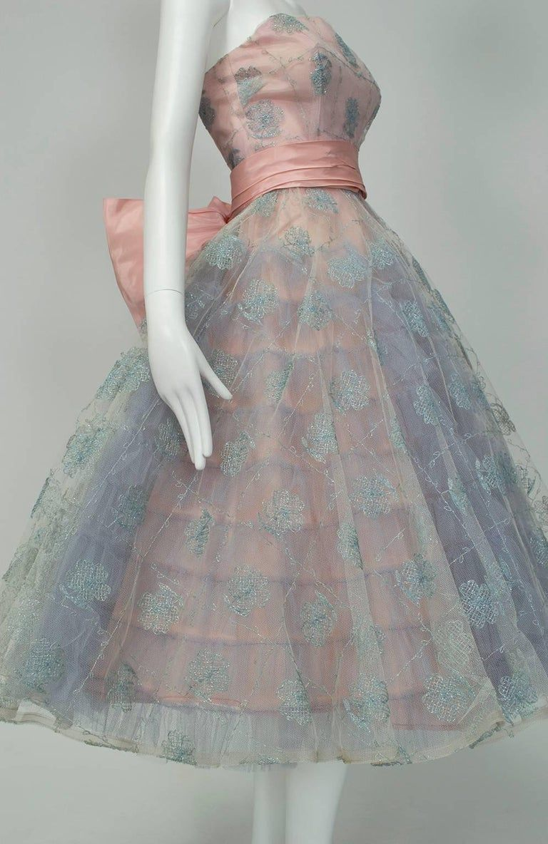 Will Steinman Pink And Blue Strapless Back Bow Party Dress Small 1950s In 2021 Dresses Party Dress 50s Prom Dresses [ 1184 x 768 Pixel ]