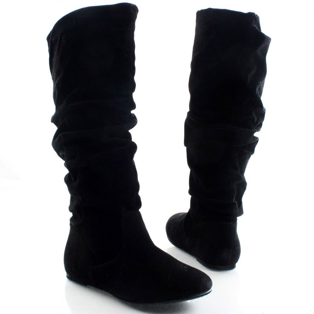 Black-Velvet Slouch Casual Winter Womens Flat Flat Knee High Boots