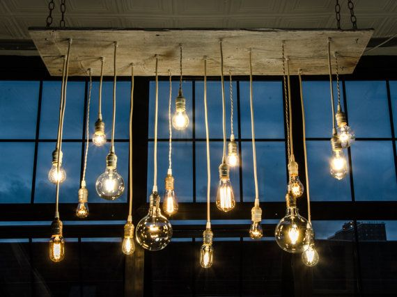 Reclaimed Barn Wood Chandelier With Varying Edison By