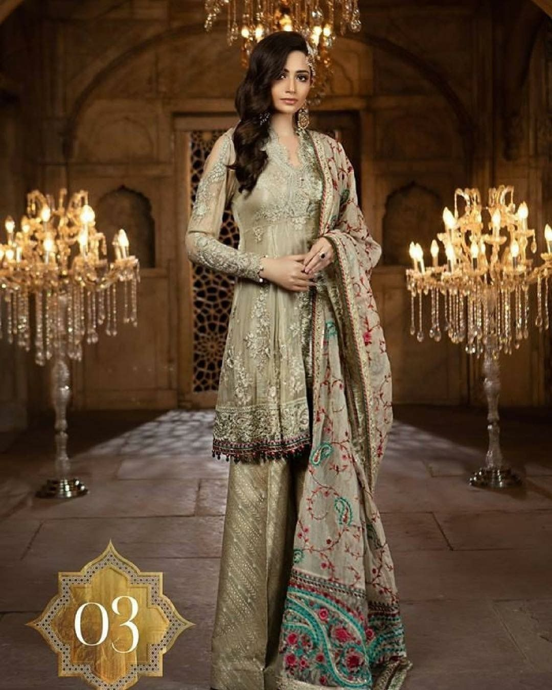 Pakistani designer dress chiffon by maria b in skin gold color model