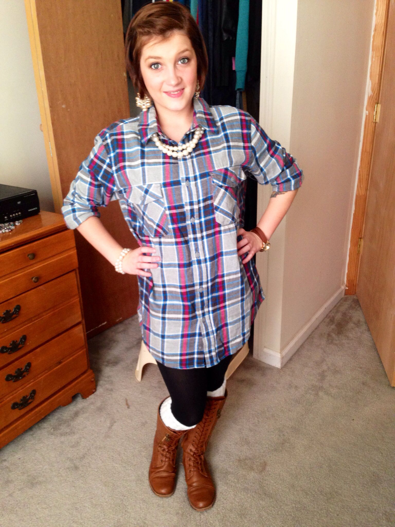 Flannel outfits with leggings  Oversized flannel leggings and boots  flannel shirts  Pinterest
