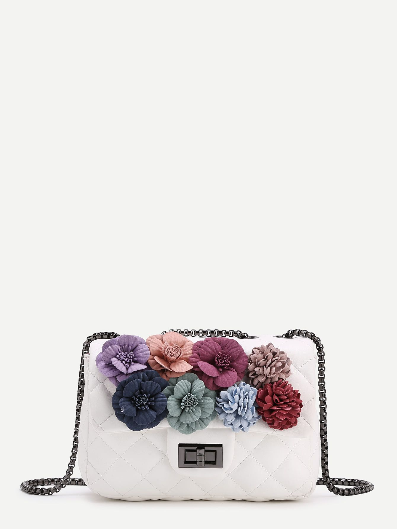 Shop Flower Embellished Quilted Chain Bag online. SheIn offers Flower  Embellished Quilted Chain Bag   more to fit your fashionable needs.