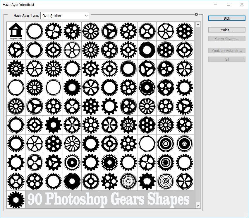 Free Csh 90 Photoshop Gears Shapes Photoshop