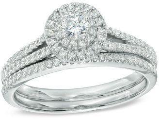 1/2 CT. T.W. Diamond Double Frame Bridal Set in 14K White Gold - $1,331.10