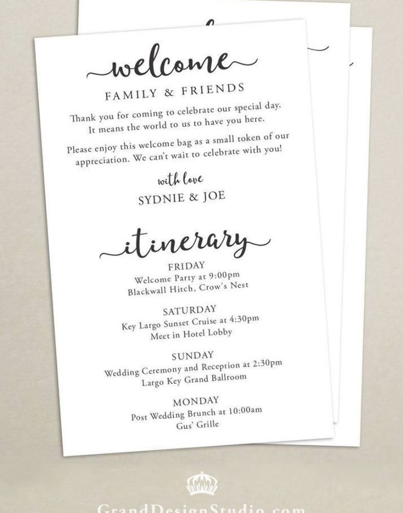Itinerary cards for wedding hotel bag printed