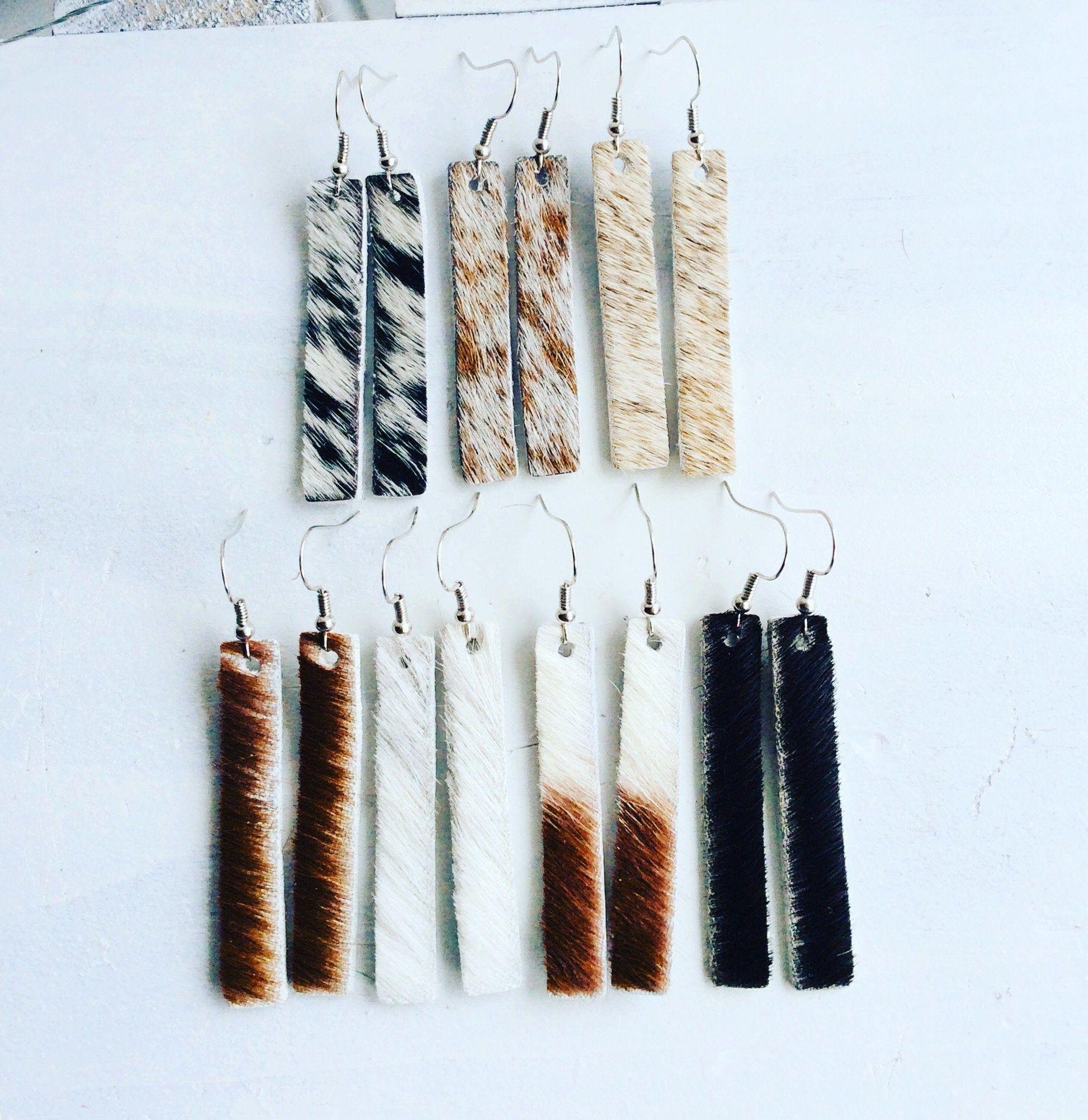Cowhide leather bar earrings-Hair on hide earrings-you choose pattern-western je…