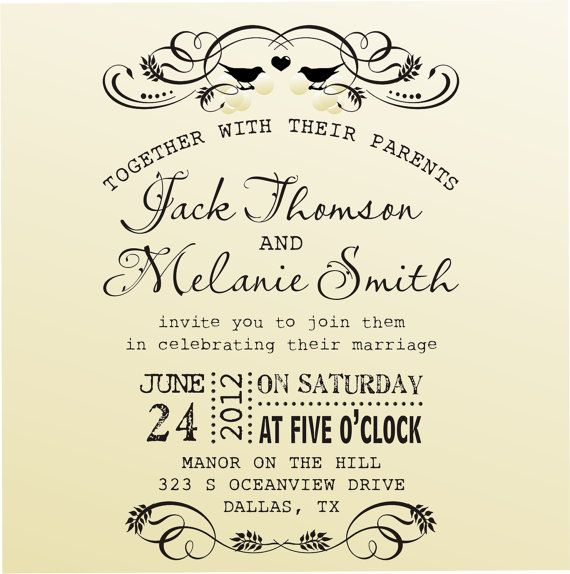 diy wedding invitation vintage design typewriter font rubber stamp clear block mounted style 6020invitation custom wedding stationary