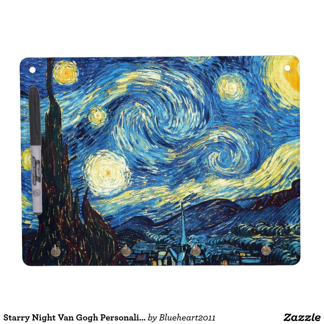 Starry Night Van Gogh Personalize Destiny'S Dry Erase Board With Keychain Holder