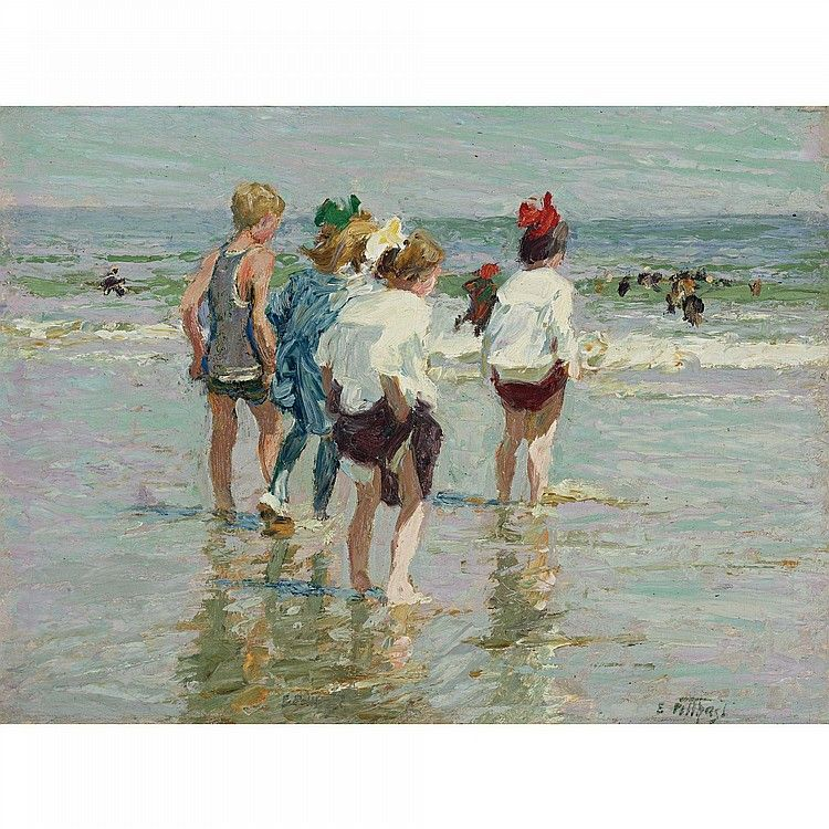 """Summer Day, Brighton Beach,"" Edward H. Potthast, oil on panel, 12 x 16"", private collection."