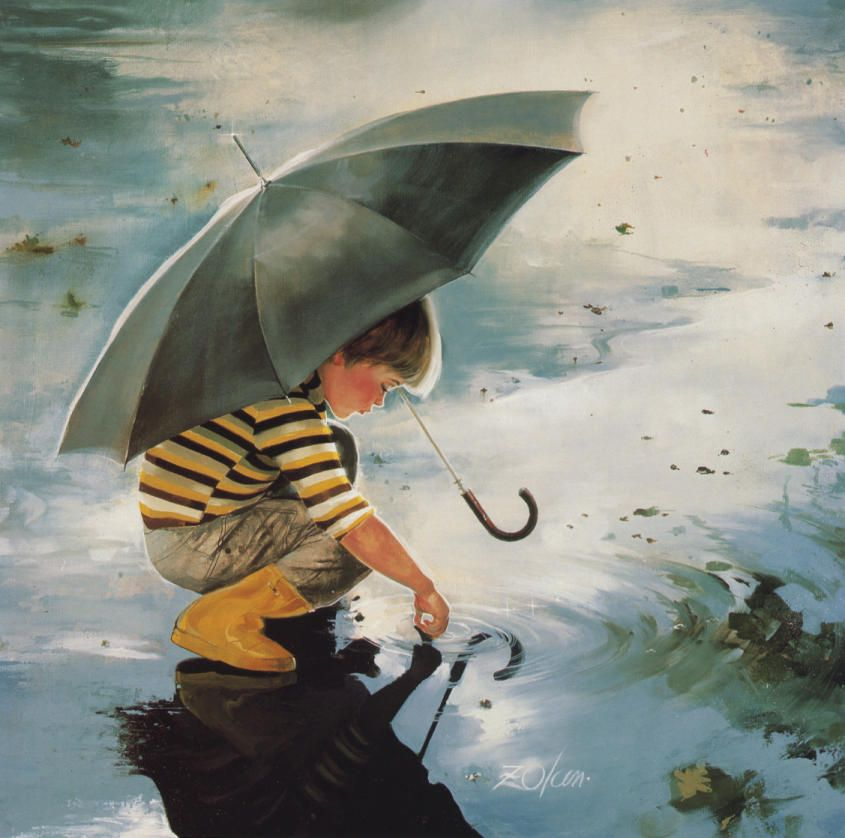 Beautiful Paint beautiful painting - a boy is playing in rain water | rain, oil