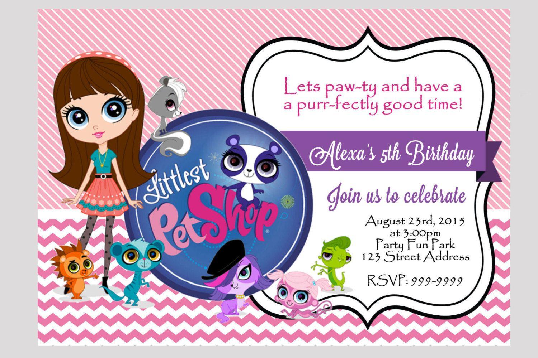 Littlest Pet Shop Birthday Invitation 4x6 or by samsprintboutique ...