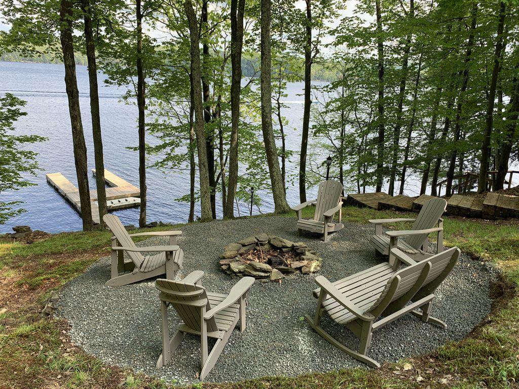 Luxury log home on the big lake wallenpaupauk lake