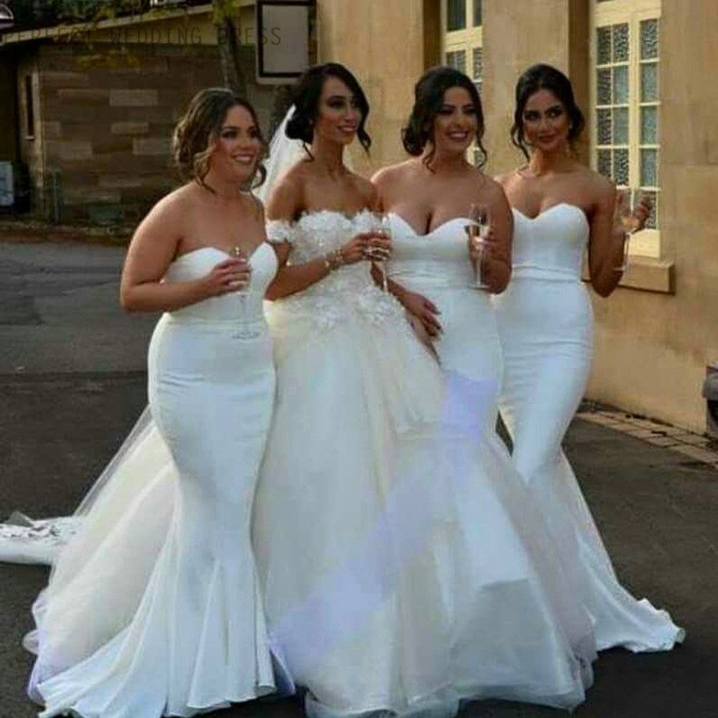 Elite wedding dresses  White Satin Cheap Sweet Heart Mermaid Sexy Wedding Party Bridesmaid