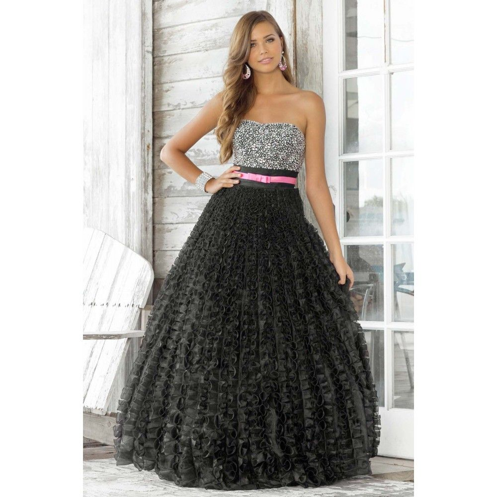 A line ball gown sweetheart beaded ruffles sash organza long black