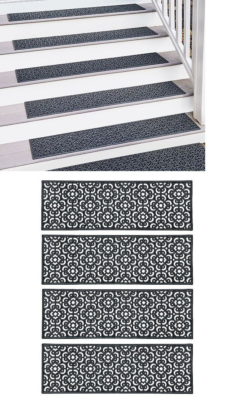 Stair Treads 175517 Rubber Stair Mats Outdoor Non Slip Traction Anti Skid Mat Grip Treads Set Of 4 Buy It Now Only 45 99 O Stairs Stair Mats Stair Treads