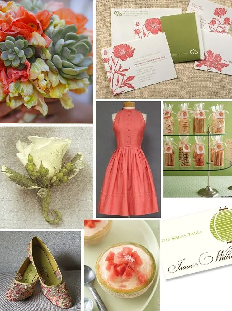 Green And Coral Wedding Decorations