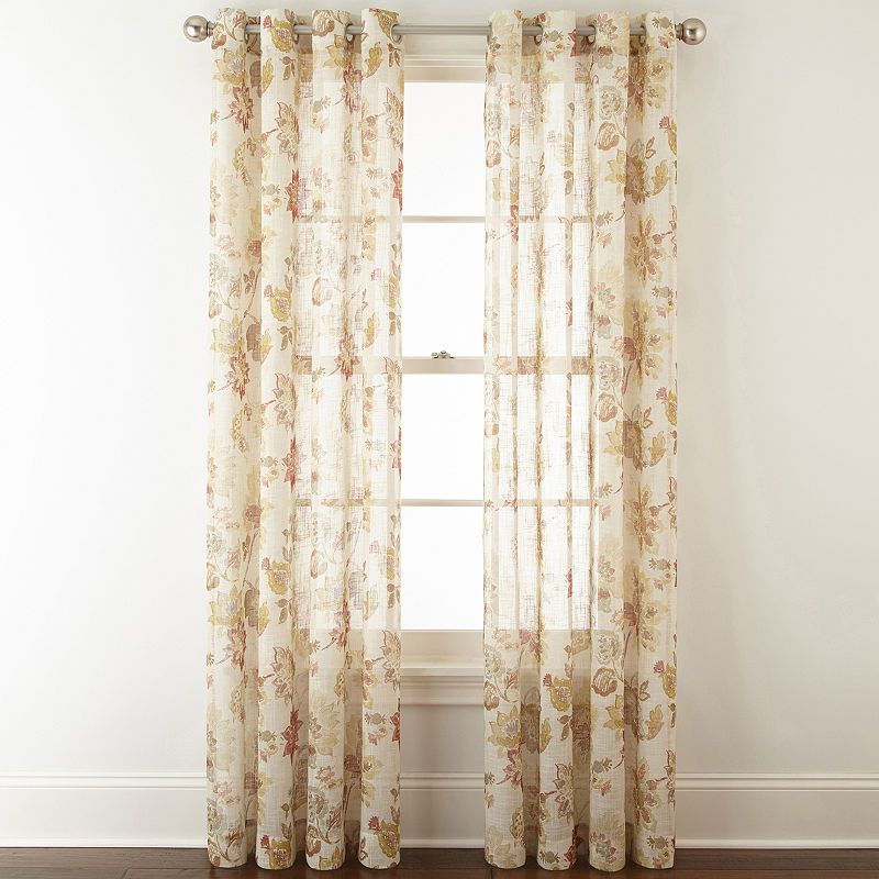 Jcpenney Home Bismarck Grommet Top Sheer Curtain Panel Panel