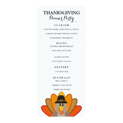 Thanksgiving Dinner Menu Card Template  Thanksgiving Invitations