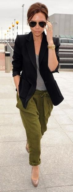 Military inspired pants with pumps, blazer and aviator glasses.