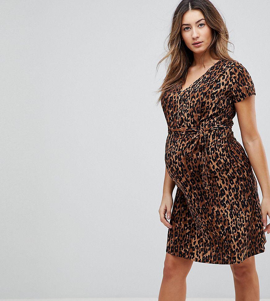 dd6edf84072 Mamalicious nursing Leopard Wrap Dress