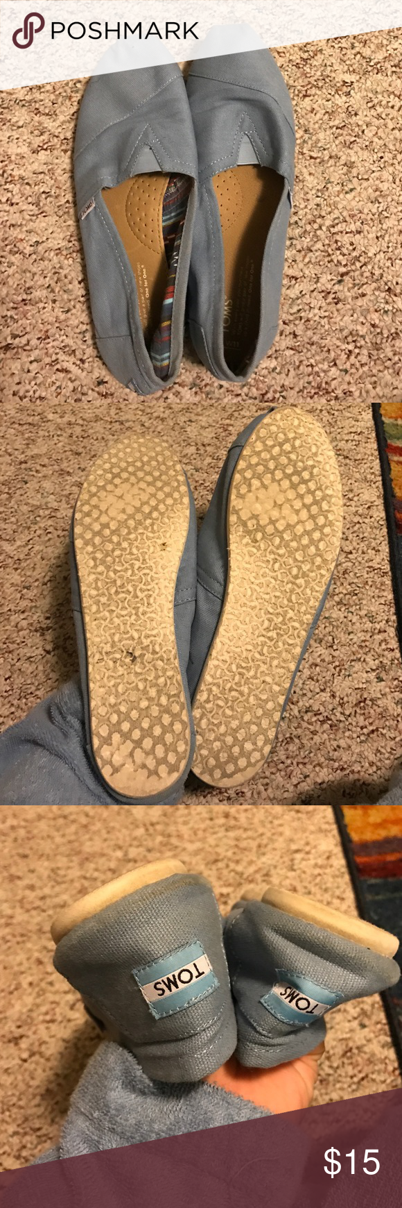 Sky Blue Toms Gently worn Toms . Great for a casual look. Comes with original box. TOMS Shoes Flats & Loafers