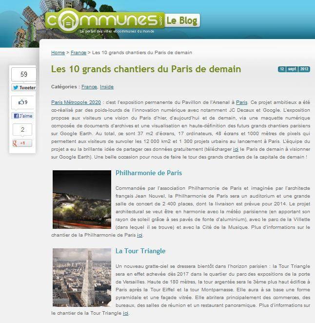 La Tour Triangle fait partie des 10 grands chantiers du Paris de demain. #TourTriangle