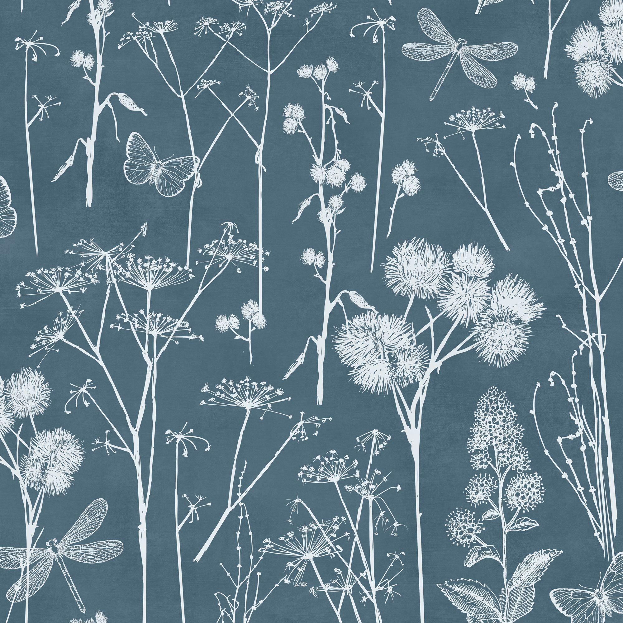 Botanical Blackboard Teal Foliage Wallpaper Departments